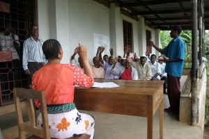 Njari, Tanzania, 2006.  A meeting held by the Kilimanjaro Native Cooperative Union