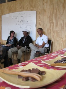 L-R: Phyllis Robinson, Equal Exchange Education & Campaigns Manager, interprets for Ramon and Basilio during a presentation at Brattleboro Food Co-op.