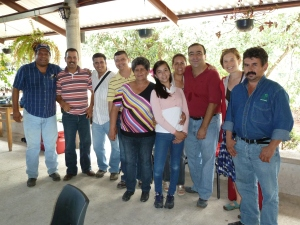 A group of avocado farmers and their families with Equal Exchangers after a delicious homemade Mexican meal in the mountains.