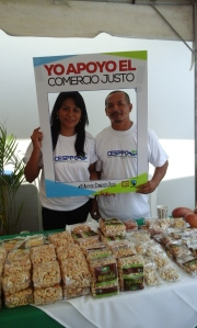 Brenda Ceren, Aprainores Administrator & Eduardo Murcia, Aprainores Board Treasurer at the World Fair Trade Day Fair in El Salvador